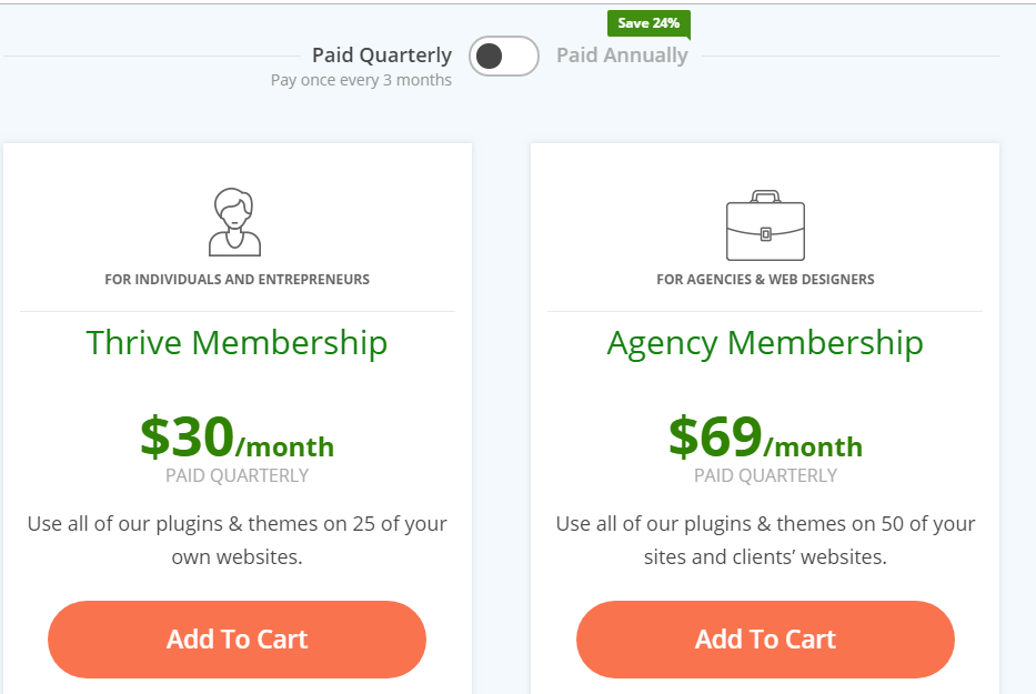 Thrive Themes Pricing Plans